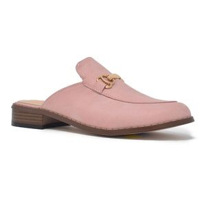 Shoes - Pink Slip on Flat Mule Loafer W Gold Buckle